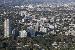 Западная антенна прокладки захода солнца Голливуда Стоковое Изображение RF