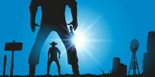 Западная сцена с 2 людьми Дикого Запада смотря на один другого для боя в поединке иллюстрация штока