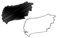 Западный вектор карты Сассекс иллюстрация вектора