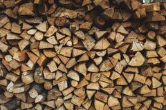Запас огня деревянный на зима Стоковое фото RF