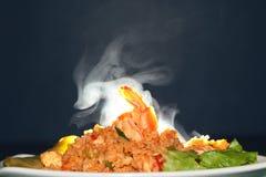 Запах ароматности жареных рисов с креветкой Селективный фокус Стоковая Фотография RF