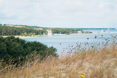 Запачканная предпосылка с пристанью Nida, взгляд от больших wi песчанных дюн Стоковое Изображение RF