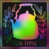 Запачканная предпосылка чая с временем чая сочинительства дальше Стоковое фото RF