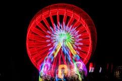 Запачканное гигантское колесо, ferris на ноче Стоковые Изображения RF