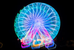 Запачканное гигантское колесо, ferris на ноче Стоковая Фотография