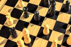 Запачканное зерно сражения шахмат естественное деревянное с длинными тенями и bl Стоковая Фотография