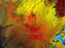 Запачканное мытье теплой сезонной осени конспекта предпосылки искусства акварели голубое желтое красочное текстурированное влажно Стоковое фото RF