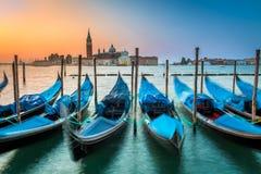 Запачканные гондолы в Венеции на зоре Стоковая Фотография