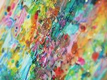 Запачканные пятна золота голубые розовые, пастельная яркая краска акварели, красочные оттенки Стоковые Фотографии RF