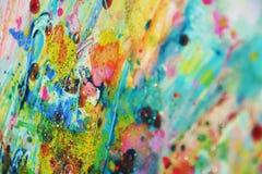 Запачканные пятна золота голубые фиолетовые розовые, пастельная яркая краска акварели, красочные оттенки Стоковые Изображения RF