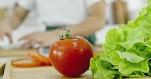 Запачканные шеф-повара которые подготавливая еду в кухне акции видеоматериалы