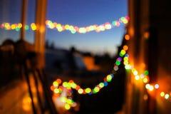 Запачканный абстрактный прощальный вечер предпосылки освещает памяти bokeh теплые Стоковые Фотографии RF