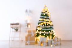 Запачканный взгляд интерьера рождества с красивым Стоковое Фото