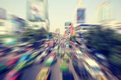 Запачканный современного транспортного потока городского транспорта стоковая фотография rf
