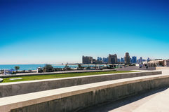 Западная зона залива Дохи в Дохе Западный залив рассмотрен как один из видно районов Дохи, Катара Стоковое Фото