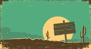 Западная иллюстрация ландшафта пустыни на старой бумажной текстуре Стоковое Изображение RF