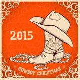 Западная поздравительная открытка Нового Года с объектами ковбоя Стоковые Фото