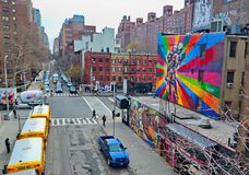 Западная сторона Манхаттана Нью-Йорка - 10th бульвар Стоковые Фотографии RF