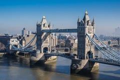 Западная сторона моста башни Лондона сверху Стоковые Изображения RF
