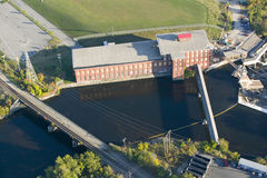 Западная текстильная фабрика пункта-Pepperell в Biddeford, Мейне Стоковое фото RF
