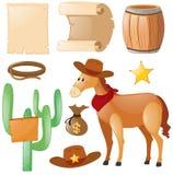 Западная тема с лошадью и кактусом Стоковое Изображение