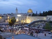Западные стена и купол утеса на празднике еврейской пасхи Стоковое Изображение