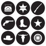 Западные установленные значки Стоковое Фото
