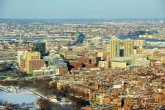 Западный край в зиме, Массачусетс Бостона городской, США Стоковые Изображения