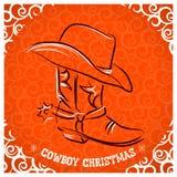 Западный Новый Год с ботинком ковбоя и западная шляпа Стоковое Изображение RF
