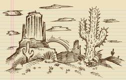 Западный эскиз ландшафта шаржа Стоковое Изображение