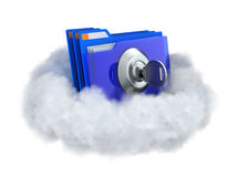 Запертая папка в облаке Стоковые Изображения