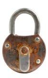 Запертый старый изолированный padlock Стоковая Фотография
