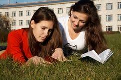 записывает чтение лужайки девушок стоковые изображения