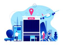 Записывая гостиница Онлайн резервирование с интернетом, концепция бюджета гостиниц вектора праздника летних каникулов мобильного  иллюстрация штока