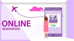 Записывая концепция гостиницы онлайн Смартфон с рукой касаясь кнопке книги на экране Онлайн записывая идея проекта для мобильного иллюстрация вектора