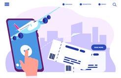 Записывая онлайн концепция вектора билетов Купите или проверите внутри бесплатная иллюстрация