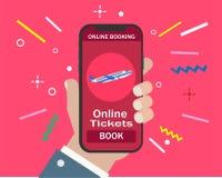 Записывая онлайн полеты путешествуют или снабжают билетами иллюстрация штока