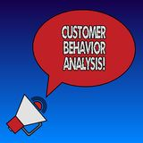 Запись анализа поведения клиента показа примечания Покупательское поведение фото дела showcasing потребителей которые используют  бесплатная иллюстрация