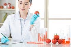 Запись на доске сзажимом для бумаги исследования еды gmo Стоковое фото RF