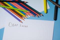 Запись письма к santa стоковое изображение