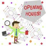 Запись примечания показывая времена открытия Фото дела showcasing время во время которого дело открыто для клиентов иллюстрация вектора