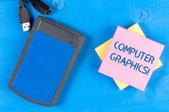 Запись примечания показывая компьютерную графику Фото дела showcasing визуальные представления данных показало на мониторе стоковое фото rf