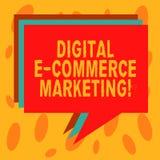 Запись примечания показывая маркетинг коммерции цифров e Приобретение фото дела showcasing и продажа товары и услуги иллюстрация вектора