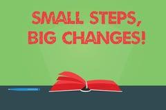 Запись примечания показывая небольшим шагам большие изменения Showcasing фото дела делает маленькие вещи для выполнения больших ц иллюстрация вектора