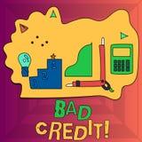 Запись примечания показывая плохой кредит Помощь фото дела showcasing предлагая после идти для займа после этого получая отвергну иллюстрация вектора