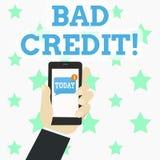 Запись примечания показывая плохой кредит Помощь фото дела showcasing предлагая после идти для займа после этого получая отвергну бесплатная иллюстрация