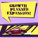 Запись примечания показывая расширение запланированное ростом Фото дела showcasing подвергающ дело действию более широкого автомо иллюстрация штока