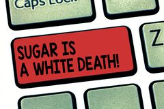Запись примечания показывая сахар белая смерть Помадки фото дела showcasing опасный диабет предупреждают нездоровое стоковое изображение
