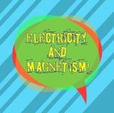 Запись примечания показывая электричество и магнетизм Showcasing фото дела овеществляет одиночный пробел электромагнитной силы яд стоковые фото