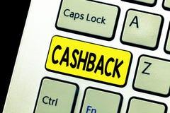 Запись примечания показывая Cashback Стимул фото дела showcasing предложил к покупателям одним продукты whereby получите стоковое изображение rf
